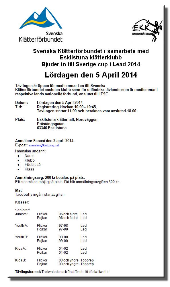 Inbjudan Sverigecup 2014